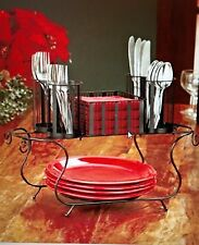 NIB Christmas Hanukkah Dinner Party BUFFET CADDY BLACK METAL Flatware & Napkins
