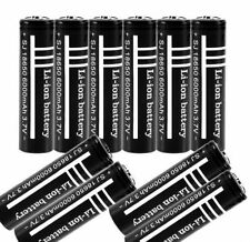 10PCS 3.7V 6000mAh 18650 Li-ion Rechargeable Battery for UltraFire Flashligh@