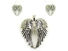 "3"" Long Silver Tone and Clear Rhinestone Magnetic Wing Pendant w Earrings"