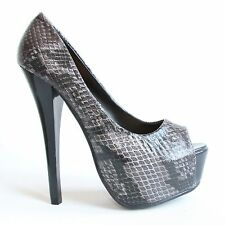 Damen Plateau High Heels 38 Schwarz Stilettos Pumps Sandaletten Shoes 8916 P