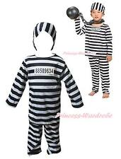 Halloween Costume Black White Stripe Prisoner Party Dress Up for Unisex Children