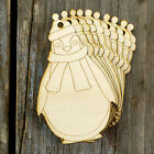 10x Wooden Christmas Penguin Craft Shapes 3mm Plywood Xmas Decoration Hat Scarf