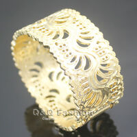 Ornate Gold Cut Out Flower Filigree Hinged Wide Bracelet Bangle Cuff Art Deco