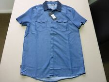 105 MENS NWT WRANGLER BLUE DENIM / NAVY CORD COLLAR S/S SHIRT SML $100.