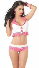 2071 Pink Polka dots Tankini Bikini Exotic Dance Club-wear GoGo Rave S M L