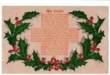 """Holiday postcard """"My Creed"""" share love and tenderness advertising price list"""