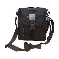 Mens Army Combat Military Canvas Shoulder Travel Zip Bag Bum Money Surplus Black
