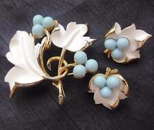 Vintage Brooch Signed Sarah Cov White Enamel & Blue Beads Pin & Clip Earrings