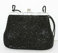 """Beautiful black shiny beaded cocktail clutch purse with silver clasps 8x6.5"""" EUC"""