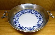 Obst Brot Schale Schüssel mit Griffe Zinn Porzellan blau weiss D23,5cm