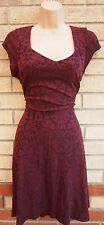 PRIMARK BURGUNDY BAROQUE FLORAL PRINT SKATER V NECK FLIPPY TEA RARE DRESS 16 XL
