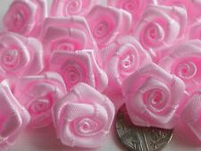 100! LARGE SATIN RIBBON ROSES - 20MM - LOVELY PINK ROSE!