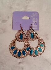 Claire's Gold And Blue Teal Filigree Crescent Moon Tear Drop Dangle Earrings