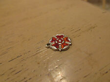 VINTAGE STERLING SILVER BRACELET CHARM ENAMELLED RED ROSE OF LANCASHIRE