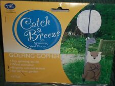 """Catch A Breeze 3D Spinning Yard Decor Golfing Gopher Wind Activated 43"""" Tall New"""