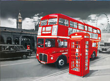 Double-Decker Bus Lenticular 3D Picture Car Poster Painting Home Wall Art Decor