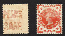 GREAT BRITAIN 1887 ½d WITH 'PEARS SOAP' ADVERT ON REVERSE SG 197var. MINT.