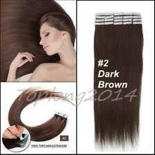 """Dark Brown 16"""" Remy Tape Skin Human Hair Extensions Girl Accessories 30g 20Pcs"""