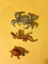 Brooch Shirt Pin Lot Ladies Turtle Crab Lizard