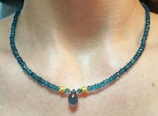 25ct London Blue Topaz solid 14k gold necklace