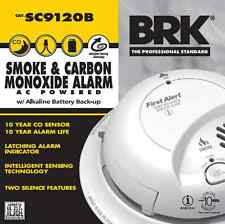 Lot of 8 First Alert BRK Smoke And Carbon Monoxide Alarm AC Powered SC9120B