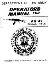 AK-47 7.62X39 Department of the Army Operation Instruction and Parts Manual