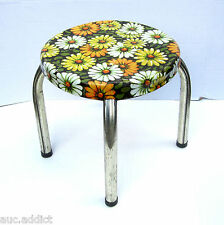 Vintage 1969 Marsh-Allan Retro Daisy Tin Litho Metal Step Stool or Childs Chair