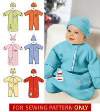 SEWING PATTERN! MAKE BABY BUNTING~HAT! SIZE PREEMIE~18 LBS! ANIMAL~HOLIDAY TRIMS