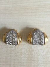 Vintage Clip on Earrings Diamante & Gold Heart Shaped coloured  metal 1980's