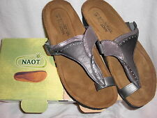 NAOT NEW Women's Sandal Loop Antigua Metalic Silver Sterling Leather 40 (US 9)