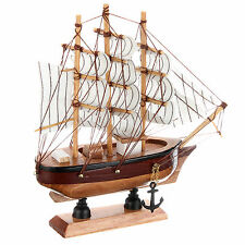 16cm Hand-made Pine Wooden Sailing Craft Ship Model Home Decoration Toy