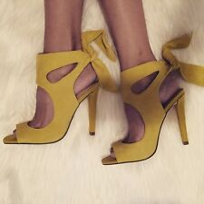 ZARA YELLOW SUEDE LEATHER HIGH HEEL SANDALS SHOES WITH BOW EUR 36, US 6, UK 3