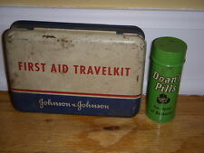 2 PC ADVERTISING TINS DOANS PILLS & JOHNSON & JOHNSON FIRST AID TRAVEL KIT empty