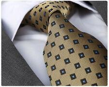 Nouveau design italien or jaune/motif bleu cravate en soie