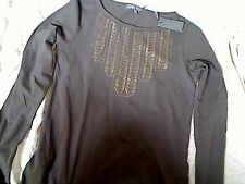 LAURA ASHLEY LONG SLEEVE GREY TOP SIZE 8 NEW