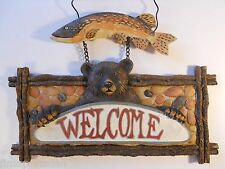 BROWN BEAR SALMON FISH WELCOME SIGN Rustic Northwoods Cabin Cottage Wall Plaque