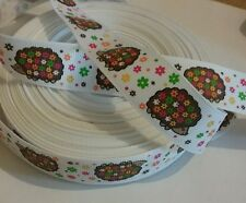 1m grosgrain ribbon 22 mm wide white with Cute Hedgehogs & flowers