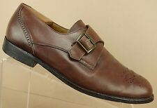 Bally Italy Wales Brown Leather Brogue Monk Strap Loafers Dress Shoe Men 9.5 EEE