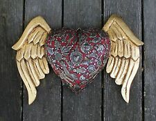 Gothic Winged Red Heart, Carved Wooden Milagros, Folk Art Michoacán Mexico LOVE!
