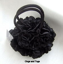 NEW CLARKS BLACK SATIN FLOWER PETAL HANDBAG BNWT