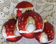 4 Krebs Glass Christmas Tree Ornaments Balls Stencil Snowflake Snowman Red Gold