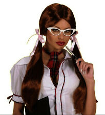 Ladies Schoolgirl Wig Long Pigtail Sexy Britney Geek Brown Black Blonde Fancy Dr