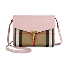 Burberry Small Leather House Check Crossbody Bag - Pale Orchid