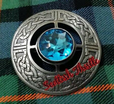 "Scottish kilt fly plaid broches bleu ciel argent antique 3""/femmes châle broche"