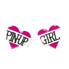 Bete Noire Pin Up Girl Heart Stud Earrings Pink Retro Vintage Rockabilly