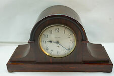 VINTAGE SETH THOMAS MANTLE CLOCK TAMBOUR FLAME MAHOGANY WOOD CHIME KEY WIND