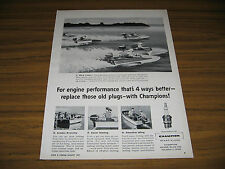 1957 Vintage Ad Champion Spark Plugs Small Power Boats Racing Toledo,Ohio