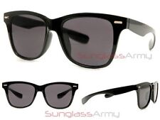 Flat Lens WIDE WAYFARERS GLOSS BLACK Sunglasses mens large big huge xl oversized