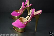 SUPER BEAUTIFUL !! CHARLOTTE OLYMPIA  HIGH HEEL PLATFORM PINK SANDALS EU 37 US 7