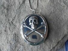 *(LOCKET)--STUNNING SKULL AND CROSSBONE LOCKET - MIRROR LOOK!!! STERLING PLATED